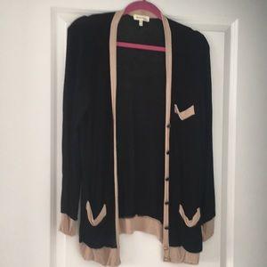 Monteau - Soft Black and Tan Cardigan